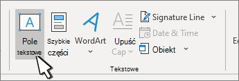 Przycisk Wstaw pole tekstowe