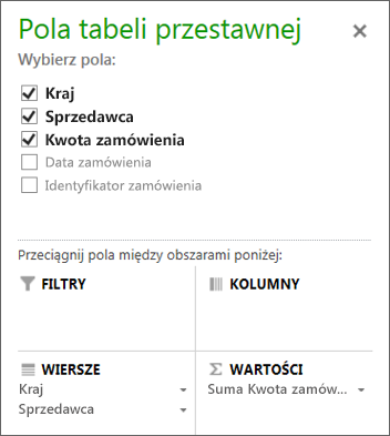 Lista pól tabeli przestawnej