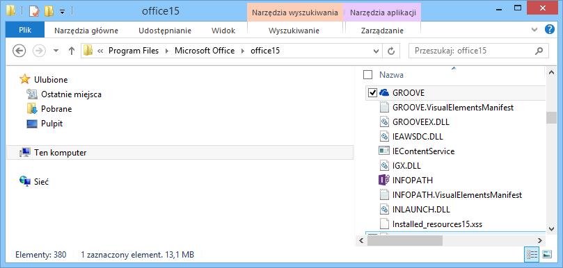 Wyszukiwanie pliku Groove.exe w systemie Windows