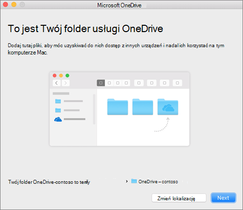 Zrzut ekranu To jest folder usługi OneDrive po wybraniu folderu w kreatorze OneDrive — Zapraszamy! na komputerze Mac