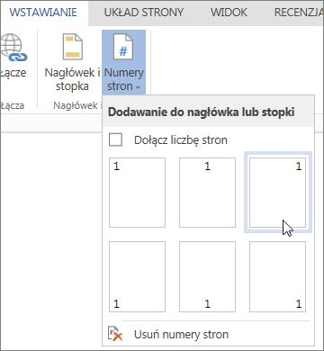 Obraz galerii Numery stron w aplikacji Word Online