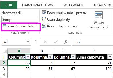 Używanie opcji zmiany rozmiaru tabeli na karcie Narzędzia tabel