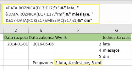 "=DATA.RÓŻNICA(D17;E17;""r"")&"" lata, ""&DATA.RÓŻNICA(D17;E17;""rm"")&"" mies., ""&DATA.RÓŻNICA(D17;E17;""md"")&"" dni"" i wynik: 2 lata, 4 mies., 5 dni"