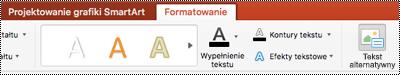 Przycisk tekst alternatywny dla grafiki SmartArt na wstążce programu PowerPoint dla komputerów Mac