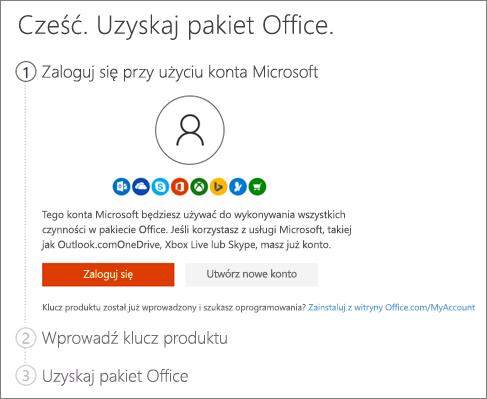 Przedstawia początkową stronę witryny setup.office.com