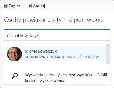 Osoby kojarzenie wideo usługi Office 365