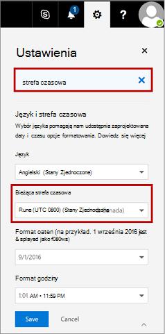 Ustawienia strony z bieżącej strefy czasowej