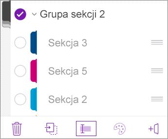 Zmienianie nazwy grupy sekcji w aplikacji OneNote dla systemu iOS