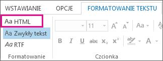 Opcja formatu HTML na karcie Formatowanie tekstu w wiadomości