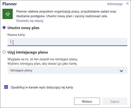 Zrzut ekranu przedstawiający okno dialogowe karty aplikacji Planner w usłudze Teams
