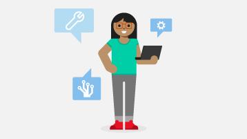 Ilustracja przedstawiająca kobietę stojącą i trzymającą laptopa