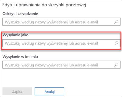Zrzut ekranu: zezwalanie innemu użytkownikowi na wysyłanie poczty e-mail jako ten użytkownik