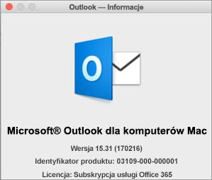 Jeśli używasz programu Outlook za pośrednictwem usługi Office 365, pole Outlook — Informacje będzie zawierać tekst Subskrypcja usługi Office 365.
