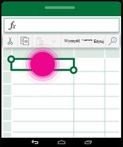 Otwieranie menu kontekstowego dla komórki
