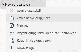Zmienianie nazw grup sekcji w aplikacji OneNote dla systemu Windows 10