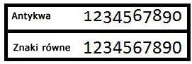 Przykłady stylów numeracji Znaki równe i Antykwa