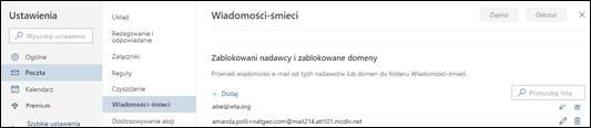 Zrzut ekranu przedstawia obszar Bezpieczni nadawcy w ustawieniach Spamu w sekcji Mail w ustawieniach usługi Outlook.com.
