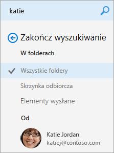 Zrzut ekranu przedstawiający okienko nawigacji wyników wyszukiwania.