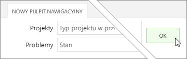 Kliknięcie przycisku OK na karcie nowy pulpit nawigacyjny