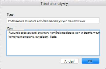 Okno dialogowe tekstu alternatywnego w systemie Mac Sierra.