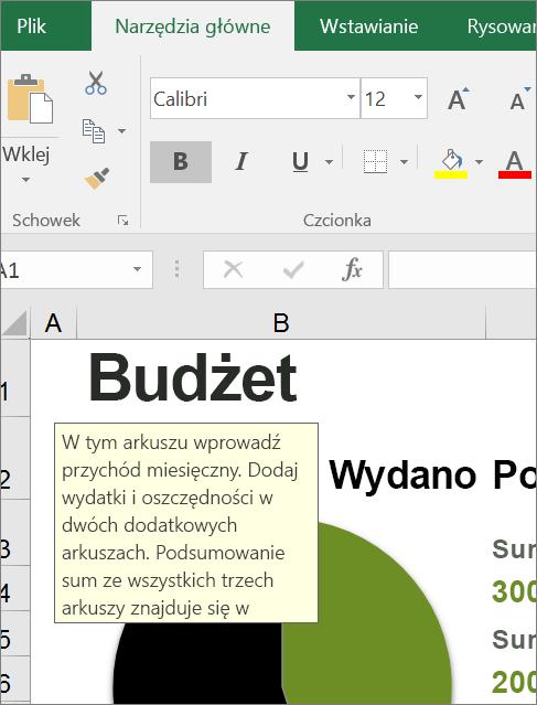 Wycinek ekranu przedstawiający interfejs użytkownika programu Excel z wbudowanymi instrukcjami
