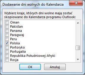 Okno dialogowe wyboru dni wolnych dla kraju/regionu