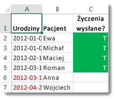 Przykładowe formatowanie warunkowe w programie Excel