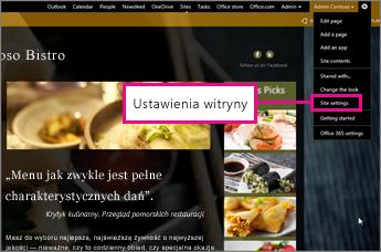 Wybieranie pozycji ustawień witryny w konstruktorze witryn internetowych w witrynie GoDaddy