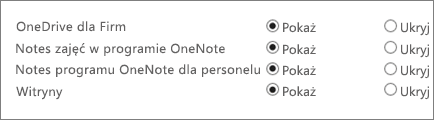 Lista zawierająca usługę OneDrive dla firm, notes zajęć w programie OneNote, notes programu OneNote dla personelu i witryny wraz z przyciskami do pokazywania lub ukrywania.