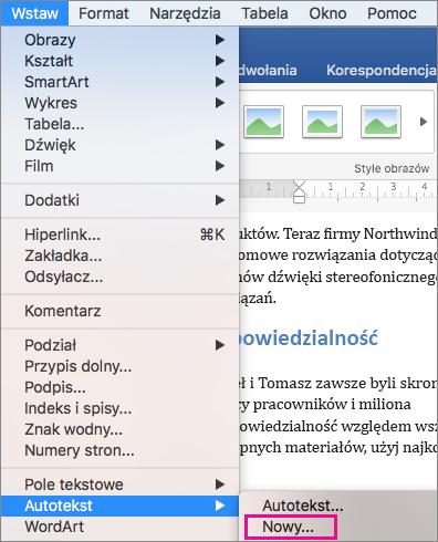 Pozycja Autotekst > Nowy wyróżniona w menu Wstaw.