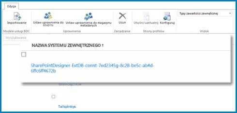 Zrzut ekranu przedstawiający wstążkę widoku zewnętrznego usług łączności biznesowej usługi SharePoint Online.
