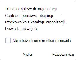 Zrzut ekranu przedstawiający powiadomienie, że czat jest czatem organizacji