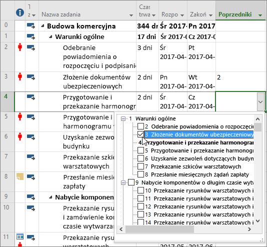 Zrzut ekranu: menu rozwijane kolumny Poprzedniki w programie Project