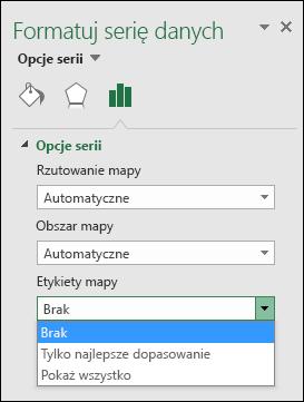 Opcje etykiet wykresu mapy w programie Excel