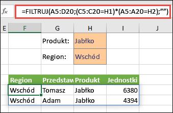 Użycie funkcji FILTRUJ z operatorem mnożenia (*) w celu zwrócenia wszystkich wartości w zakresie tablicy (A5:D20), które zawierają Jabłka ORAZ leżą w regionie Wschód.