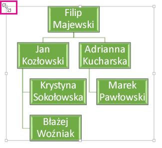 Zmienianie rozmiaru schematu organizacyjnego