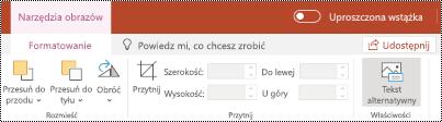 Przycisk tekst alternatywny na Wstążce obrazu w aplikacji PowerPoint Online.