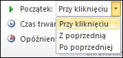 Opcje uruchamiania dla animacji w programie PowerPoint