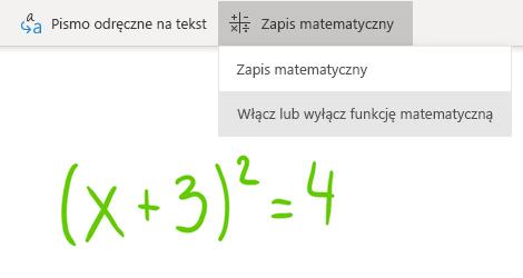 Opcja przycisku Zapis matematyczny w programie OneNote dla systemu Windows 10