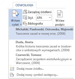 Lista cytatów w dokumencie.