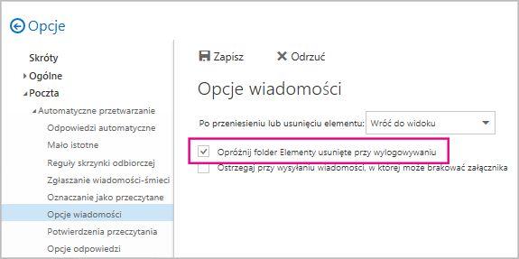 Opróżnianie folderu Elementy usunięte przy wylogowywaniu