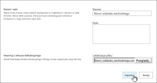 Okno dialogowe nowej aplikacji z wypełnioną nazwą i lokalizacją pliku oraz wyróżnionym przyciskiem importowania