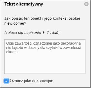 Ozdobna zaznaczone pole wyboru w okienku tekstu alternatywnego