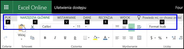 Wstążka aplikacji Excel dla sieci Web z kartą Narzędzia główne i wskazówkami klawiszowymi na wszystkich kartach