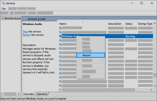 ponowne uruchamianie usług audio: Windows audio, Konstruktor punktów końcowych systemu Windows i zdalne wywoływanie procedur (RPC)