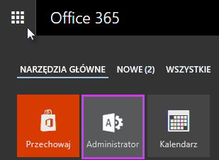 Uruchamianie aplikacji usługi Office 365 z wyróżnioną pozycją Administrator.