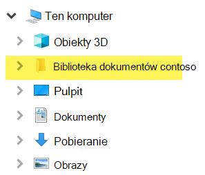 W Eksploratorze plików zamapowana biblioteka jest wyświetlana jako pozycja folderu w obszarze Ten komputer.