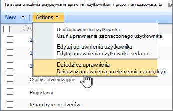 Opcja Dziedzicz uprawnienia w menu Akcja