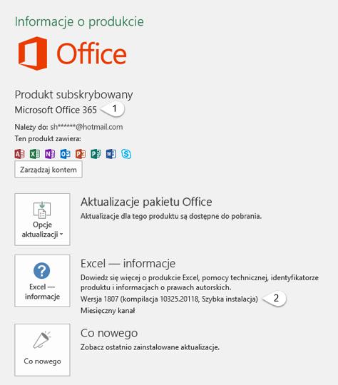 Strony Konto, zawierająca informacje o użytkowniku i produkcie