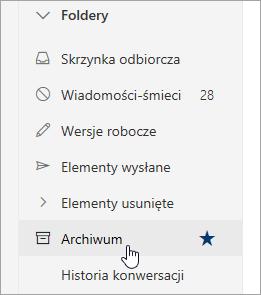 Zrzut ekranu przedstawiający folder Archiwum